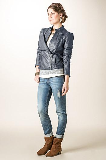 Veste femme en cuir zippée
