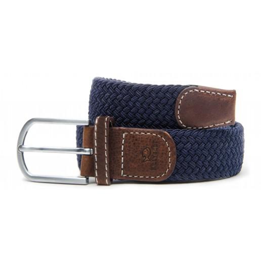 ceinture-tressee-elastique-bleu-marine-homme