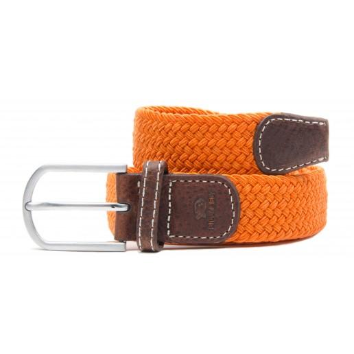 ceinture-tressee-elastique-orange-homme