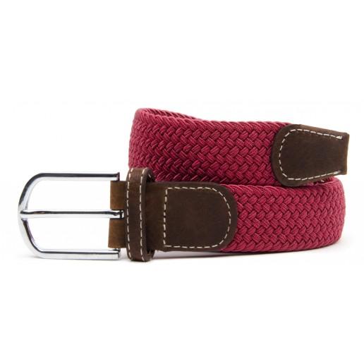 ceinture-tressee-elastique-rouge-framboise-homme