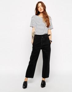 ASOS | ASOS – Pantalon taille haute large en jean – Noir délavé chez ASOS