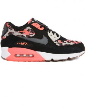 Air Max 90 Suede Hot Lava Print Noir NIKE homme, Baskets Rouge homme