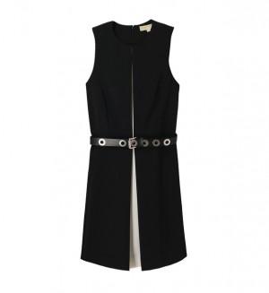Robe ceintrée ceinture en cuir avec plis Michael Kors en noir pour femme – Galeries Lafayette