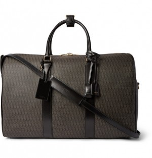 Saint Laurent – Leather-Trimmed Monogrammed Coated Cotton-Canvas Holdall | MR PORTER
