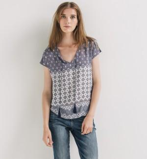 Top ethnique bi-matière Femme – Imprimé marine – Tops / T-shirts – Femme &#821 ...