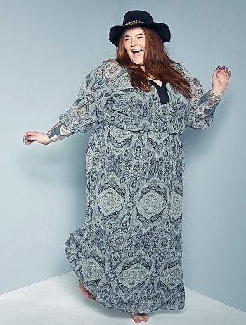 robe longue imprim fantaisie grande taille femme kiabi 39 00. Black Bedroom Furniture Sets. Home Design Ideas
