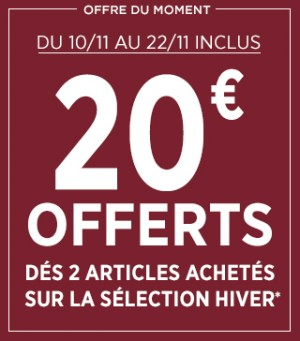 Bonobo : 20€ offerts dès 2 articles achetés sur la sélection Hiver