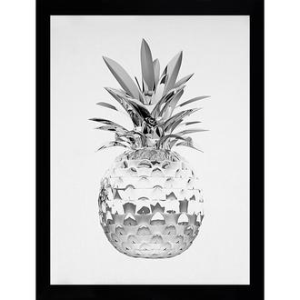cadre d coratif ananas m tallique en noir et blanc en bois mdf et verre pania g c interiors. Black Bedroom Furniture Sets. Home Design Ideas