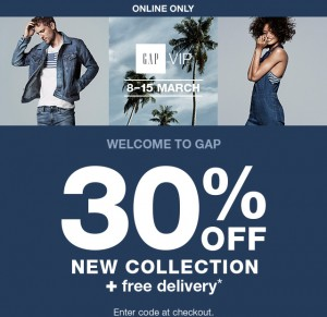 30% de réduction sur la nouvelle collection Gap