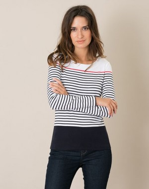 Tee-shirt rayé bleu marine Lucie – 123