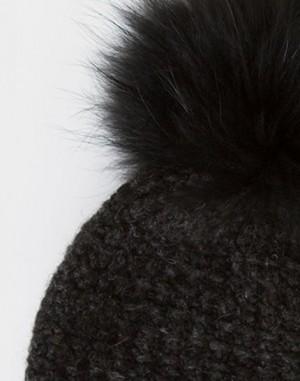 Bonnet gris anthracite à pompon fourrure Calypso – 123
