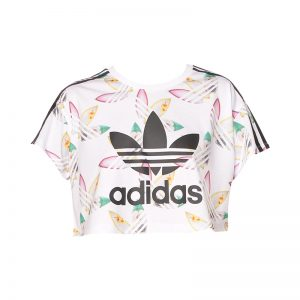 Top cropped blanc imprimé surf – Adidas Originals