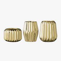 Set de 3 petits photophores en porcelaine doré - Bloomingville