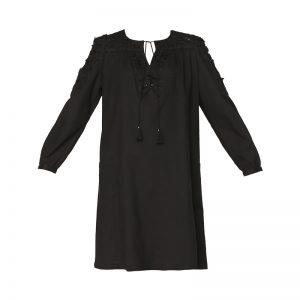 Robe droite noire empiècements fantaisie Sabba – Antik Batik
