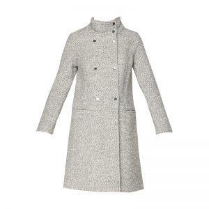 Manteau droit bouclette gris chiné Andy – Naf Naf