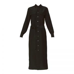 Robe chemise ceinturée soie noire – Ralph Lauren