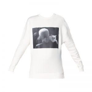 Sweat blanc imprimé photo Karl et Choupette – KARL LAGERFELD