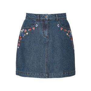 Jupe bleu denim fleurs brodées Embroidery & Cotton Denim – The Kooples
