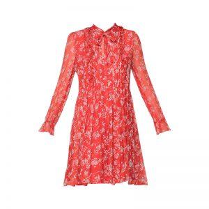 Robe soie rouge imprimé fleurs volants noeud col FR1331 – The Kooples