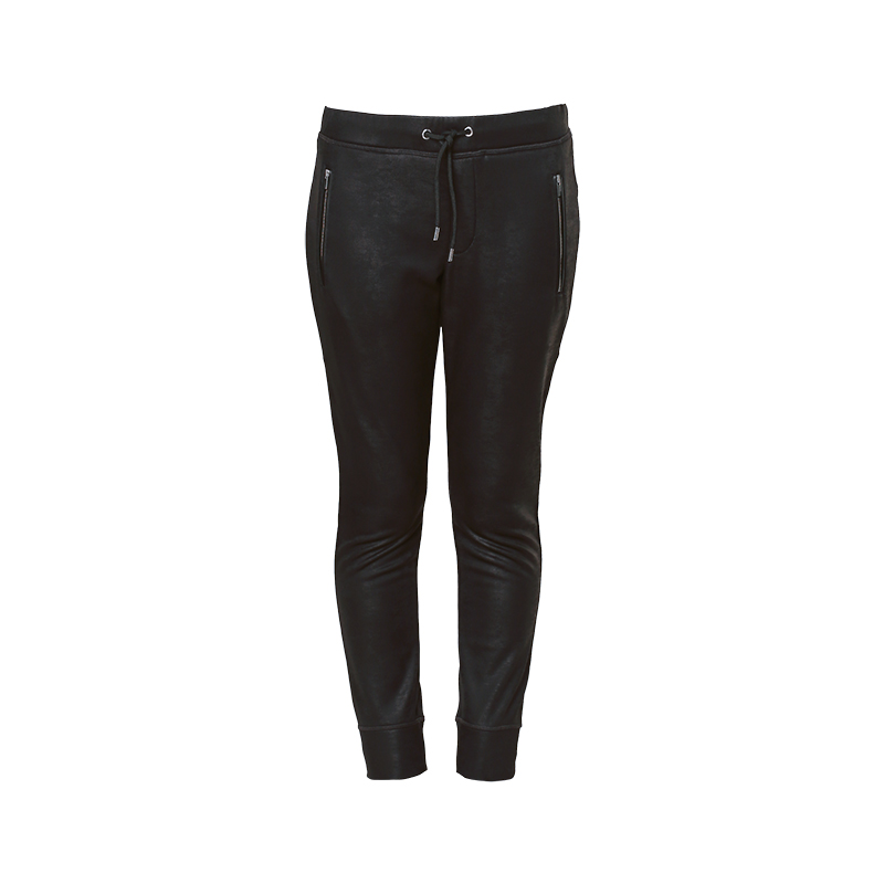 pantalon noir enduit poches zipp es fp1279s the kooples. Black Bedroom Furniture Sets. Home Design Ideas