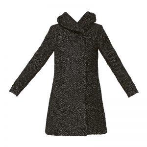 Manteau noir mélangé à capuche Cama – Vila