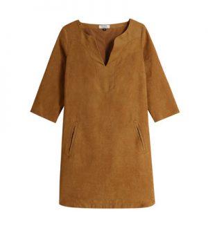 Robe trapèze mi-longue en suédine – Galeries Lafayette