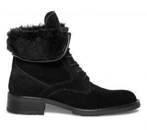 Boots fourré lacets cuir noir  Eram