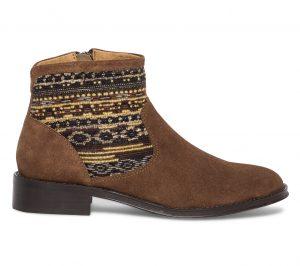 Boots col tissé cuir marron  Eram