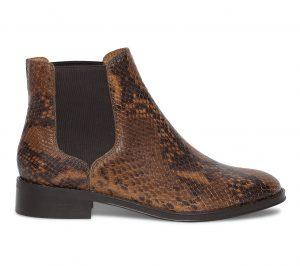 Chelsea boots cuir effet reptile marron  Eram