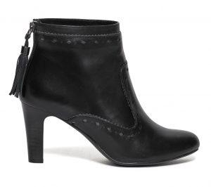 Boots pompon cuir noir  Eram