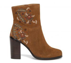 Boots broderie croûte de cuir camel  Eram