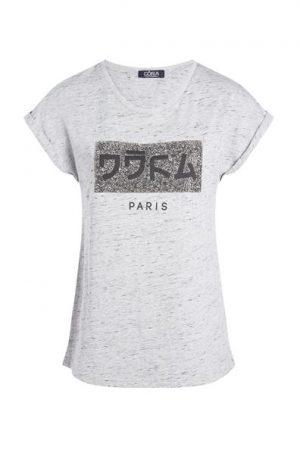 T-shirt imprimé japonisant Oôra Gris Polyester – Femme Taille 0 – Cache Cache Gris Oora