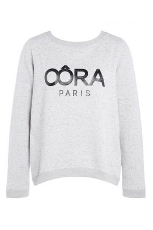 Sweat cropped chiné Oôra Gris Coton – Femme Taille 0 – Cache Cache Gris Oora