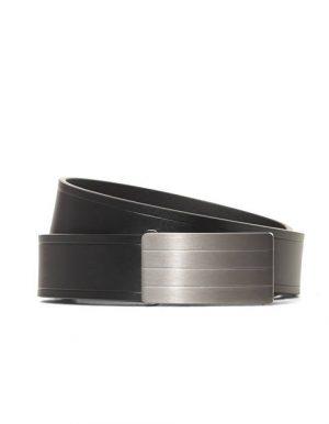 Ceinture croûte de cuir noir fermeture plaque – Celio