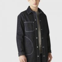 Veste longue en jean coton stretch