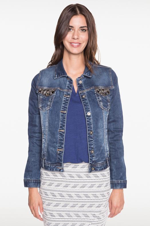 Veste en jean femme strass