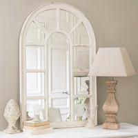 Miroir Fenêtre En Bois Blanc H 122 Cm Ofelia Maisons Du Monde