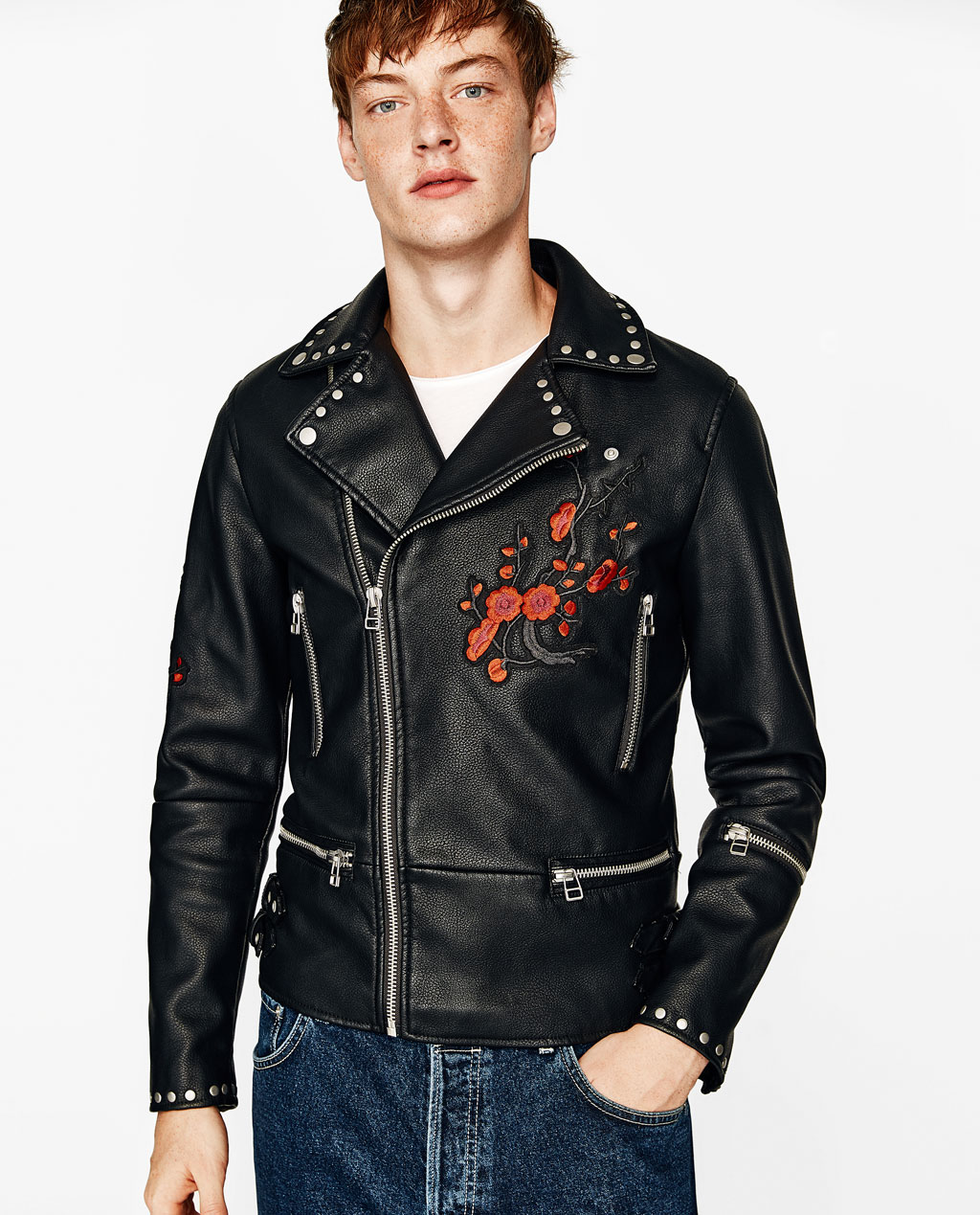 blouson de motard clous et fleurs nouveaut s homme zara france. Black Bedroom Furniture Sets. Home Design Ideas