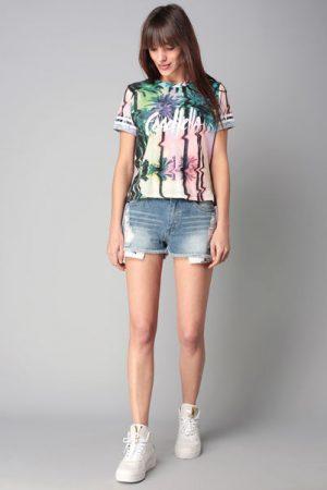 T-shirt imprimé palmiers multicolores Slodet – Eleven Paris