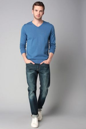 Pull bleu col V – Tom Tailor