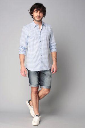 Chemise rayée bleue manches longues – Tom Tailor