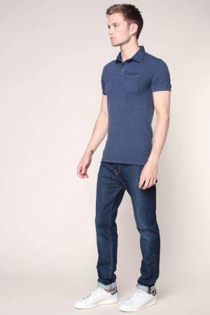 Polo bleu flocage logo dos – Tom Tailor