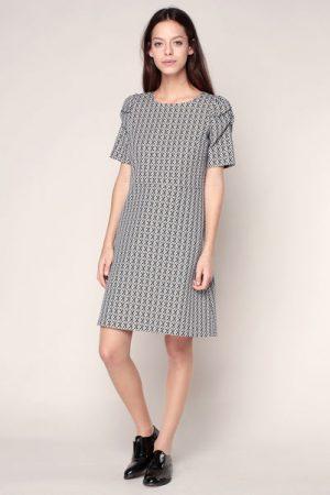 Robe texturée gris imprimé graphique Illusion – Sinéquanone
