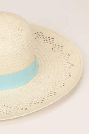 Chapeau écru bande vert d'eau – Monoprix Femme