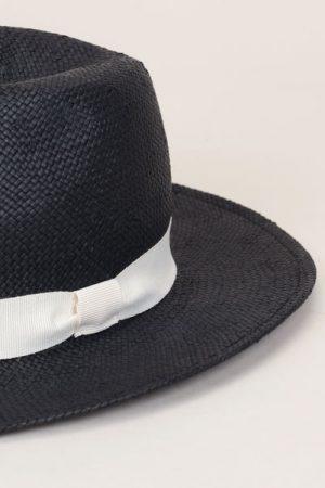 Chapeau noir bande écrue – Monoprix Femme