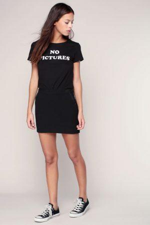 T-shirt noir imprimé message – Eleven Paris