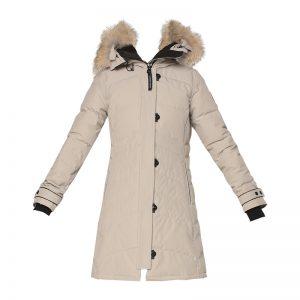 Parka longue beige capuche vraie fourrure Lorette – Canada Goose