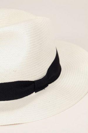 Chapeau tressé écru bande noir – Monoprix Femme