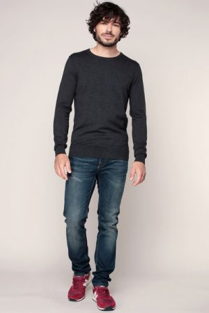 Pull fin coton gris anthracite chiné – Tom Tailor