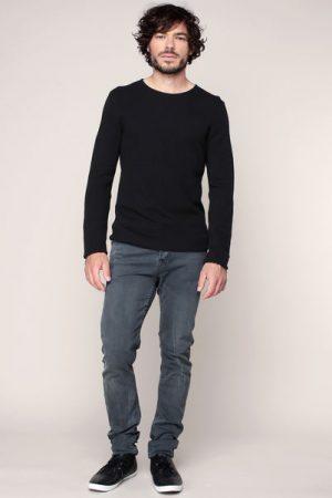 Pull fin coton piqué noir – Tom Tailor